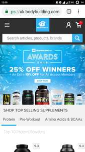 proteins 25% off plus and additional 10% off if you are member  at Bodybuilding shop