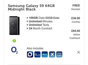 Samsung s9 with 100gb data £45 month 24 months O2 £1080 (£216 cashback) @ Mobile phones direct