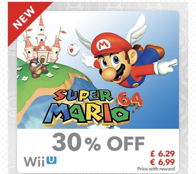 Super Mario 64 (virtual console Wii U) £6.29 using 100 platinum points @ Nintendo