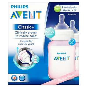 Philips Avent Classic Bottle Pink 2X 260Ml @tesco - £5.50 (instore & online)