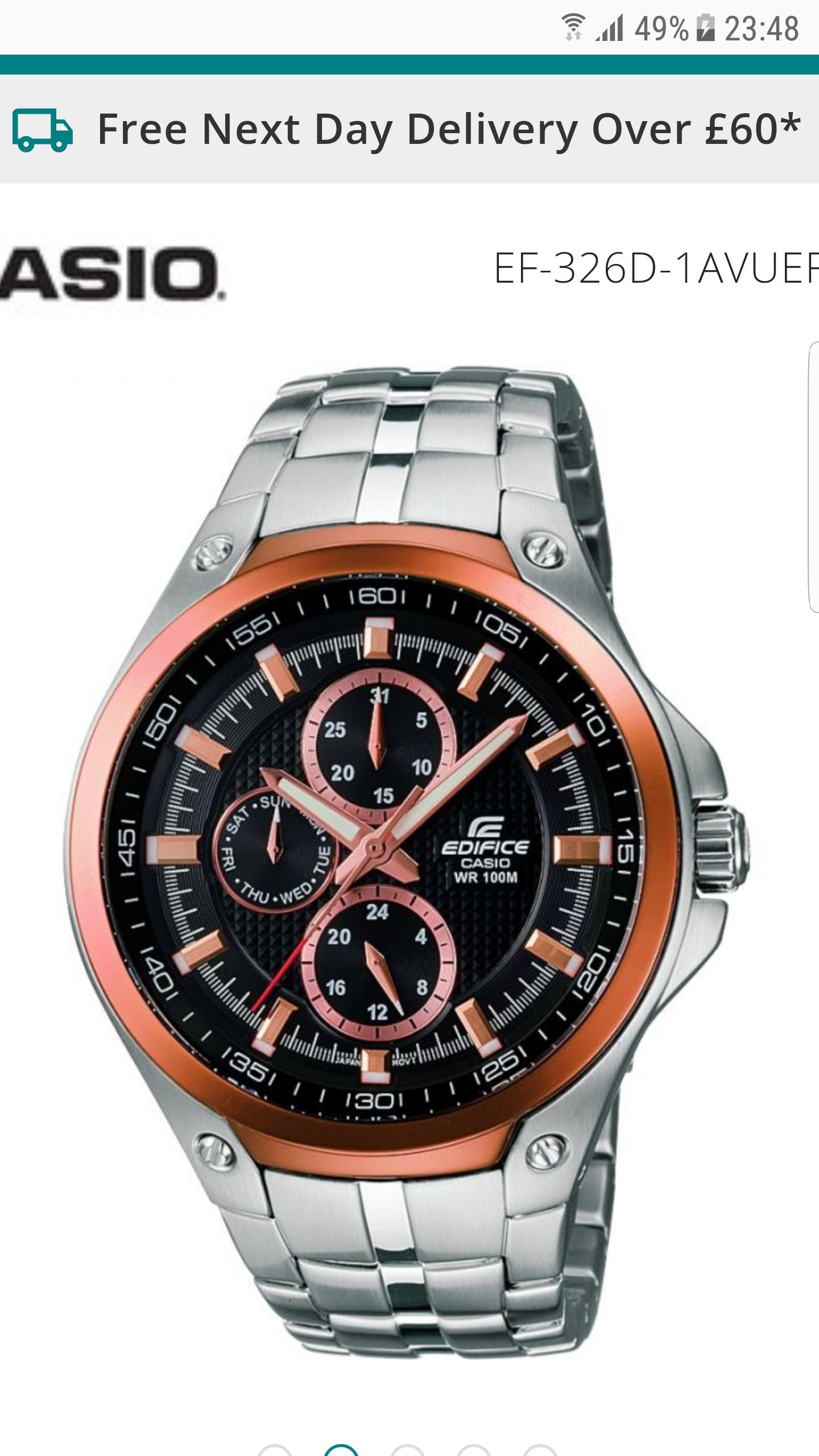 Mens Casio Edifice Watch EF-326D-1AVUEF £100 @ WatchShop