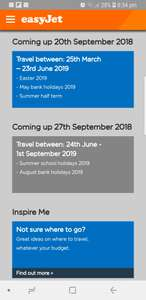 Easyjet flight release dates 25th MARCH AND 23rd JUNE 2019 Available from 20th