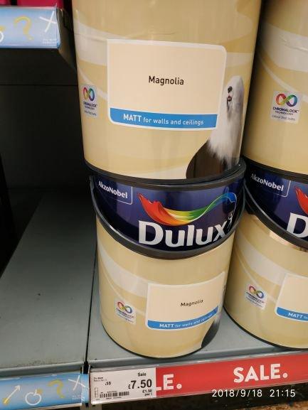 Dulux Matt magnolia, 5 litres, half price £7.50 was £15. Asda.