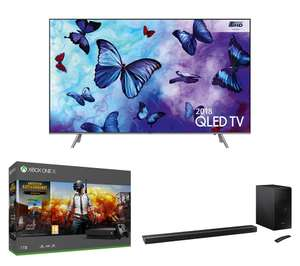 "SAMSUNG QE49Q6FNATXXU 49"" Smart 4K Ultra HD HDR QLED TV, HW-N650 5.1 Wireless Sound Bar, Free Xbox One X & PUBG Bundle £1,698.98 Currys"