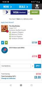 Dominos any size any crust Max toppings £9.99 with code (Dundee only)