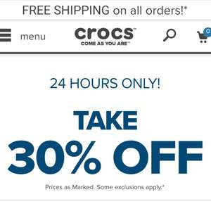 30% off CROCS for 24hours plus free shipping