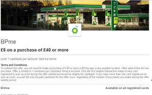 BP - £5 back on a purchase of £40 or more with HSBC