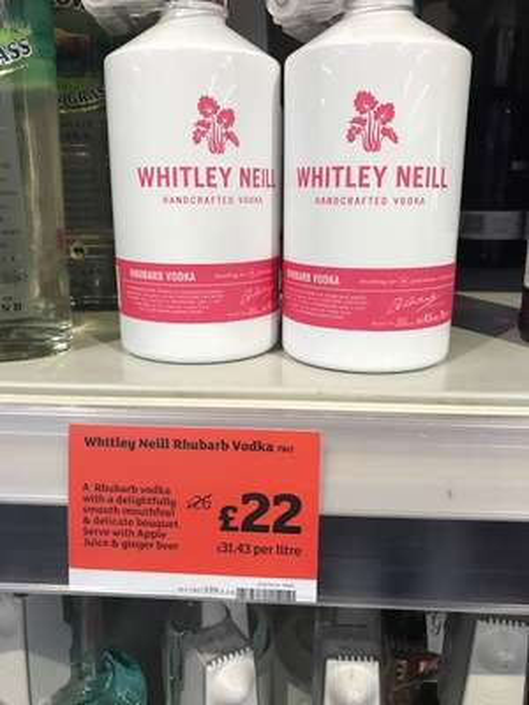 Exclusive Whitley Neill Rhubarb Vodka, Blood Orange Vodka, Rhubarb & ginger gin £22 @ Sainsburys