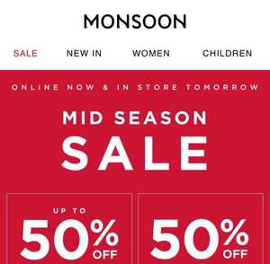 Monsoon mid-season Sale online / instore From 20.09.18