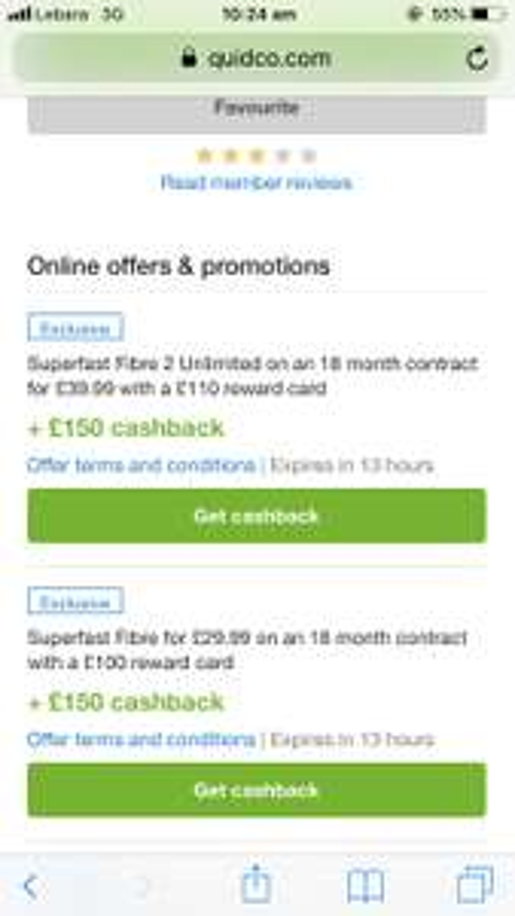 BT Superfast Fibre - £29.99 per month on 18 month contract + £100 reward card & Quidco (Term = £539.82)