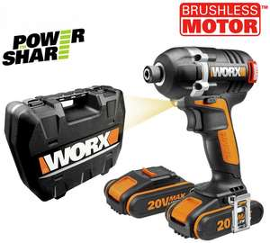 WORX BRUSHLESS high torque (175nm) 'Powershare' 20v cordless Impact Driver with 2x2Ah 20v batteries, charger and rigid case. Now reduced again to £94.99 at Argos Clearance (was £199.99, 53% off).  3 year warranty!