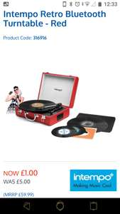 Intempo Retro Bluetooth Turntable - Red for £1 @ B&M