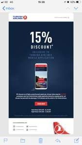 15% Discount with Turkish Airlines mobile app