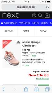 Adidas women's ultra boost £36 in next sale preview (also men's forest grove £21 and Nike Cortez £21)