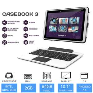 "Tetratab Casebook 3 10.1"" Rugged Tablet with Keyboard Intel Quad Core, 2GB RAM, 64GB windows10Pro / Android dual boot4GLTE £99.99 @LaptopOutletDirect ebay"