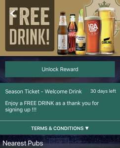 FREE drink at a Greene king pub when you install their Season ticket app