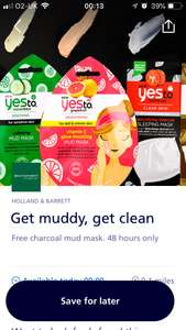 FREE Mud mask from Holland & Barrett via 02 priority