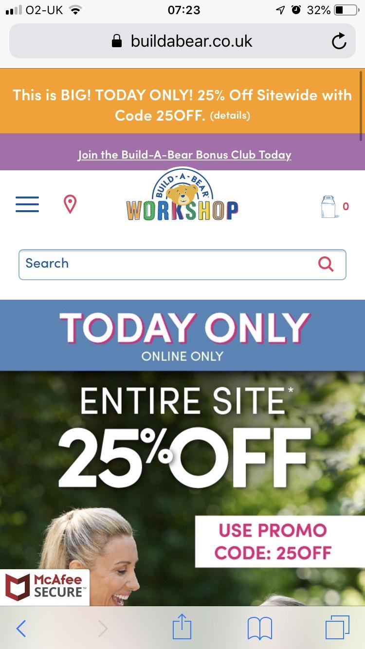 25% off entire site inc Sale w/code at Build-a-Bear eg Disney's 46cm Dory now £9.37