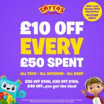Smyths Toys £10 Off for EVERY £50 you spend (so £20 Off 100, £30 Off £150  etc) NOW LIVE at Smyths Toys Instore