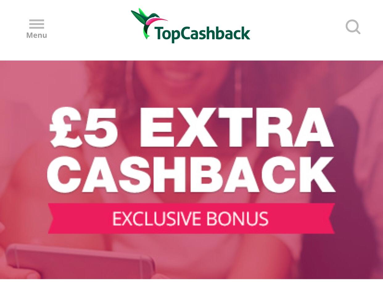 TopCashback £5 bonus on £10 spend (email invite only)