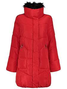 Womens Long Line Faux Fur Trim Coat now £20 @ George Asda