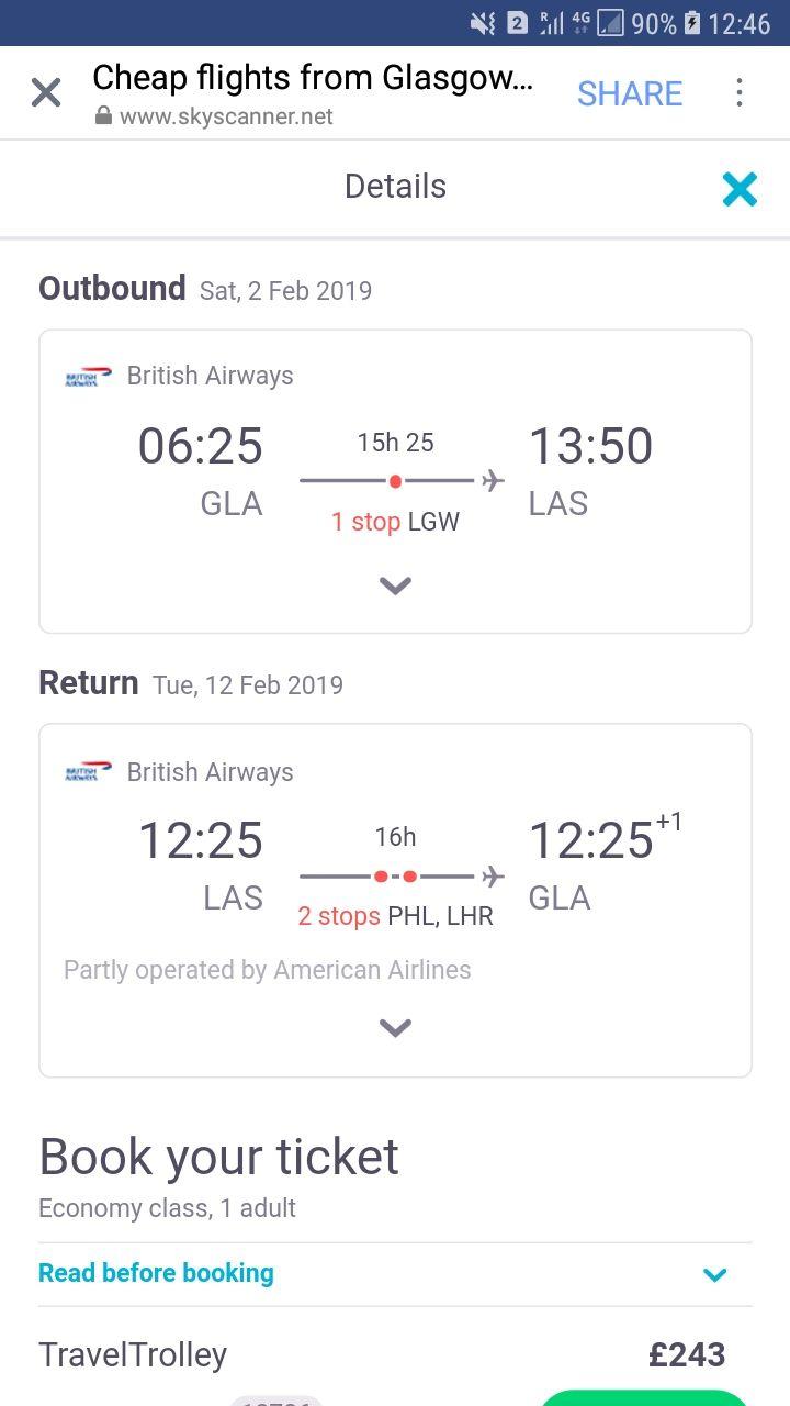 Glasgow, Scotland to Las Vegas, USA for only £242 roundtrip @ British Airways