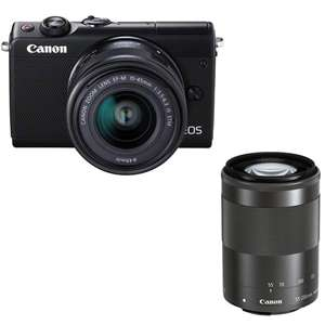 CANON EOS M100 Mirrorless Camera with 15-45 mm lens + 55-200 mm  STM Lens £399.99 @ Currys (2 Year Guarantee)