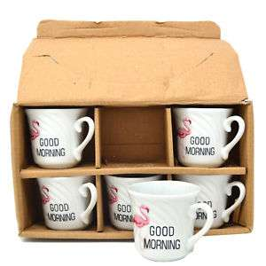 SET OF 6 MINI MUGS FLAMINGO COFFEE TEA ESPRESSO HOT CHOCOLATE KITCHEN MUG NEW £4.99 delivered @ direct2publik ebay