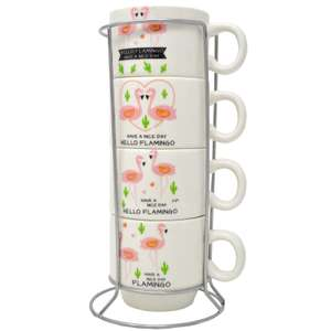 SET OF 4 FLAMINGO COFFEE TEA MUGS WITH STAND LATTE CERAMIC CUP ESPRESSO GIFT NEW £5.95 delivered @ direct2publik ebay