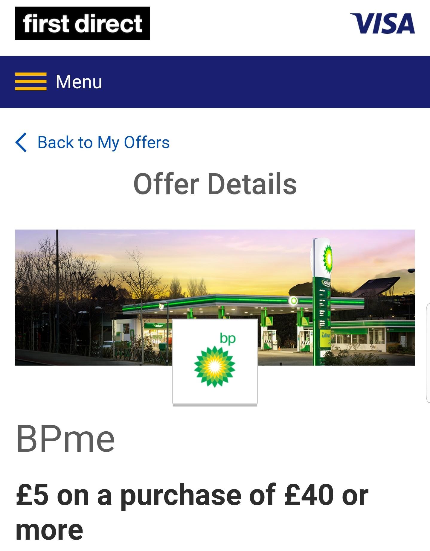 BP fuel £35 for £40 worths via FirstDirect Visa Offers cashback