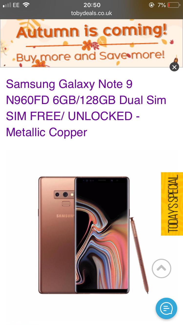 Note 9 N960FD 6GB/128GB Dual sim. Metallic copper - £634.99 @ Toby Deals