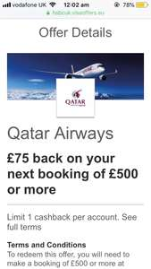 Qatar Airways £75 back on booking of £500 or more via HSBC Visa offers