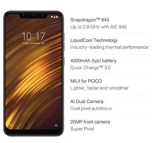 Xiaomi Pocophone F1 Official Global Version 6GB RAM 64GB ROM Smartphone Black £235.31 @ aliexpress - Xiaomi 3C Digital Store