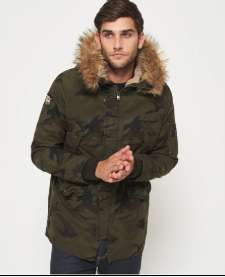 Men's Superdry Rookie Heavy Weather Parka Coat half price £57.50  on Superdry website