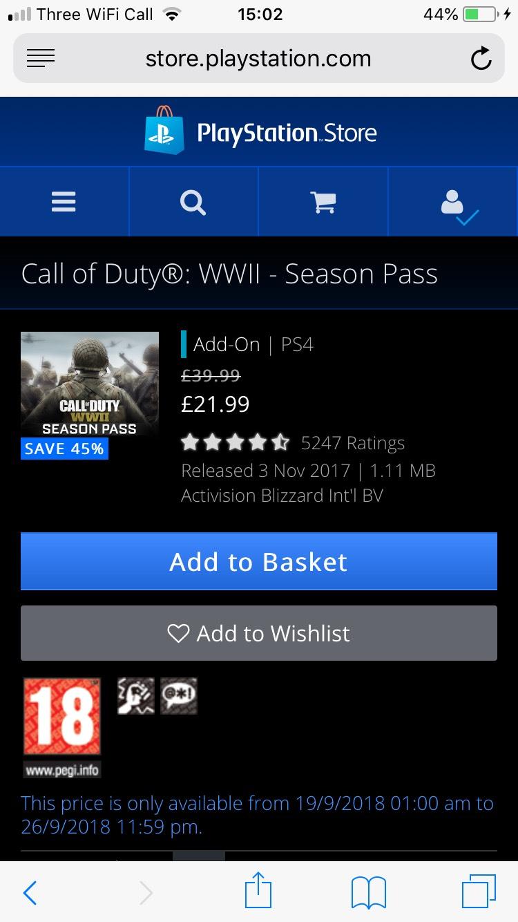 COD WW2 season pass £21.99 @ PSN