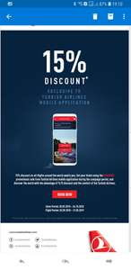 Turkish Airlines 15% discount with mobile app