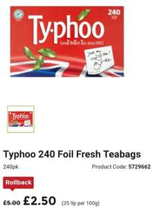 typhoo 240 foil fresh teabags not single cup version 2. Black Bedroom Furniture Sets. Home Design Ideas