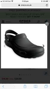 Up to 60% off and an additional 20% off with workpromo for certain pairs @ Crocs discount offer
