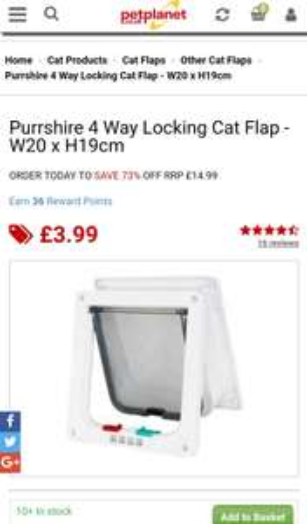 4 Way Cat flap £3.99 / £8.98 delivered @ Pet planet
