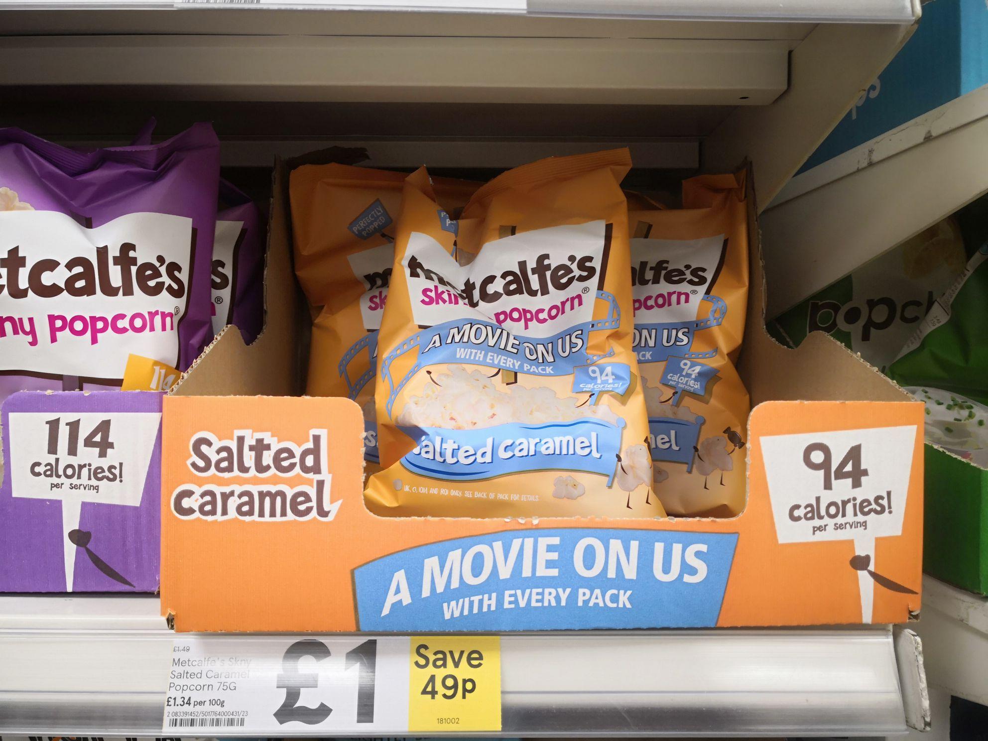 Free Movie Rental (250 Rakuten Points) When Purchasing Metcalfe's Skinny Popcorn £1 @ Tesco (Read Description)