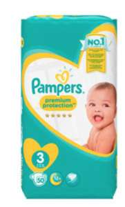 Pampers Premium Protection Size 3 Nappies 50pk £4 @ Asda