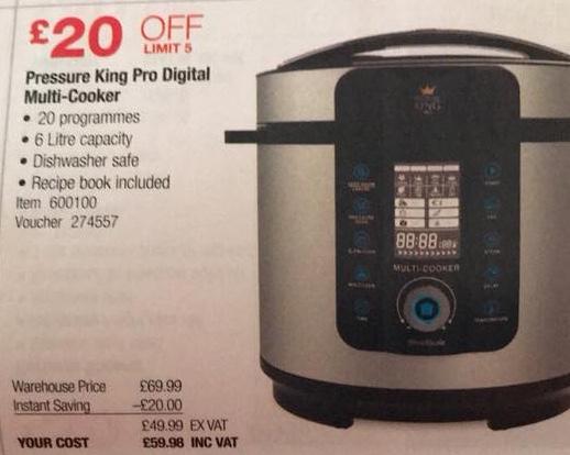 Pressure king pro 20in1  6litre £59.98 @ costco
