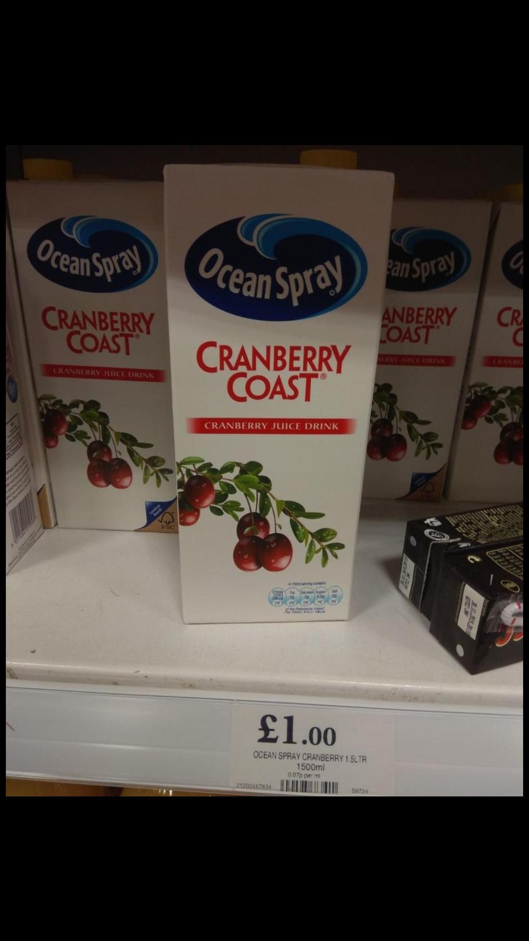 Ocean Spray Cranberry juice 1.5 litre@ home bargains £1