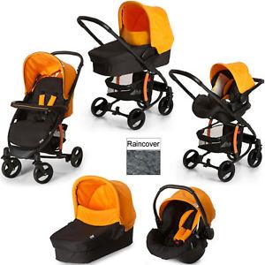 Hauck Miami 4S Trio Travel System Pushchair Pram Carseat Caviar/Orange+Raincover £139 @ Ebay / *alicekiddiworld*