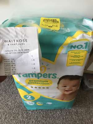 Pampers 54 nappies size 2 - £1.45 instore @ Waitrose (Ashbourne)