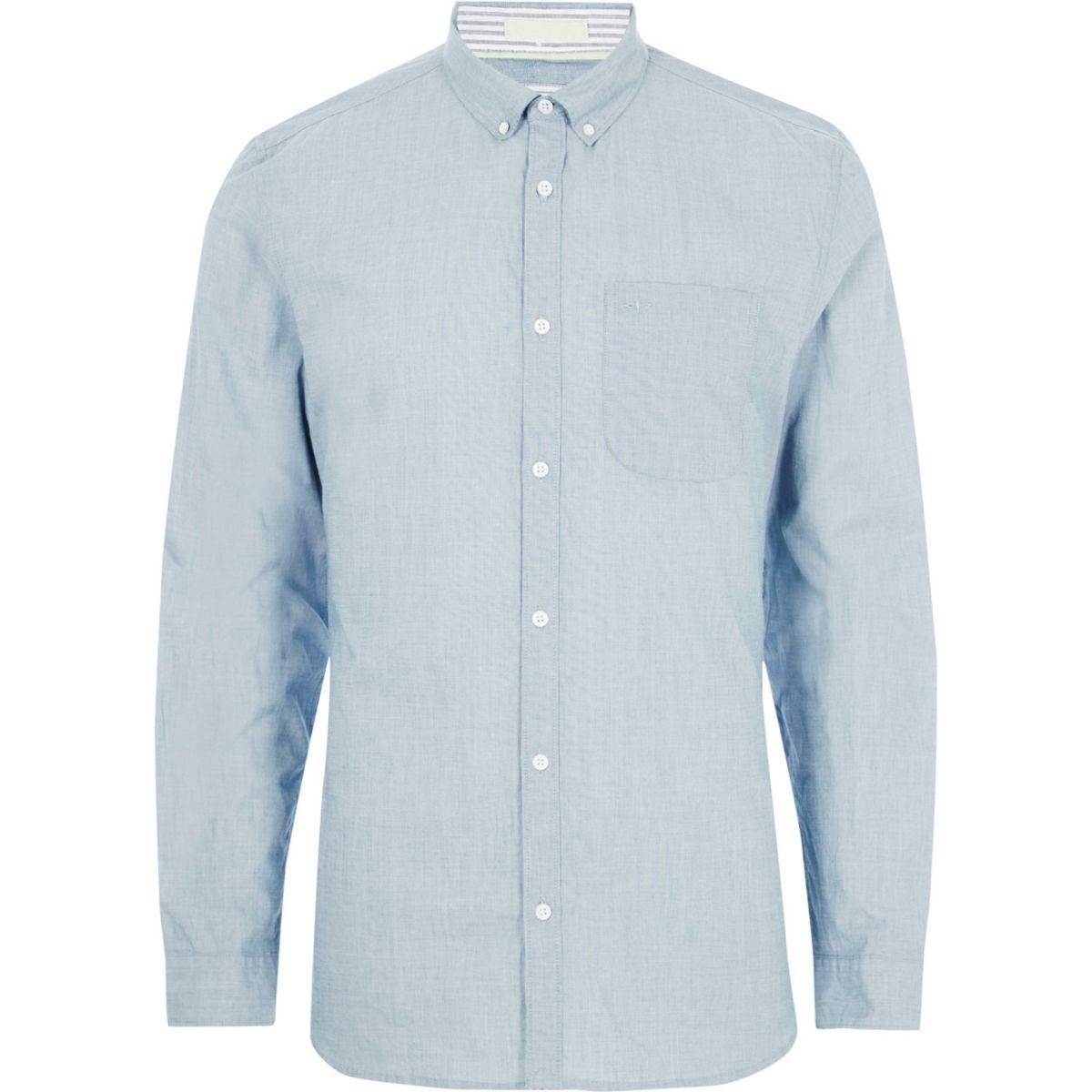 Light blue slim fit long sleeve shirt for £10 free C&C @Riverisland