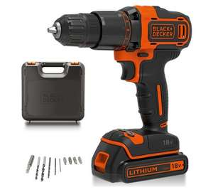 Black and Decker cordless 18v drill hammer w/ 1.5ah battery, carry case and 10 drill bit set - £49.99 @ Argos