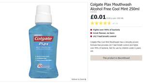 Find in store Colgate Plax Mouthwash Alcohol Free Cool Mint 250ml for 1p @Wilko