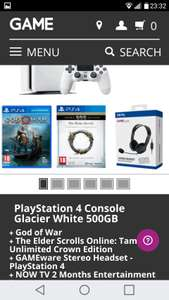 White ps4 with God of war. Elder scrolls online. Gameware headset at Game for £265