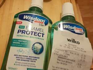 Wisdom Enamel protect sensitive mouthwash, 500ml for 50p at Wilko (Manchester)